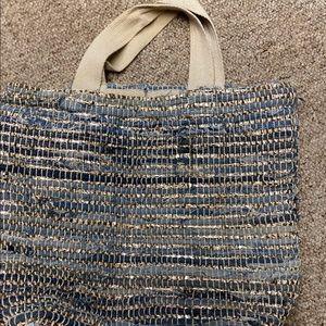 Woven Gold Glitter and Tones of Blue Beach Tote